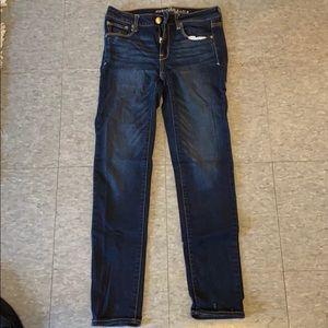 AE dark wash super stretch jeans